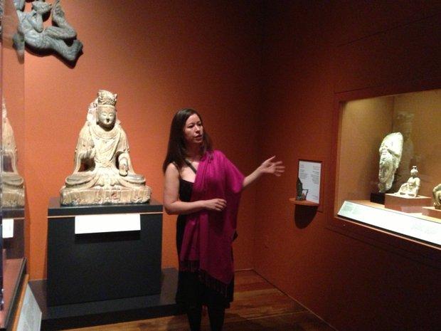 "Quintanilla in the ""exuberant"" Buddhist room"