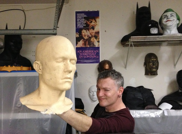 Shawn holding Heath Ledger's head cast