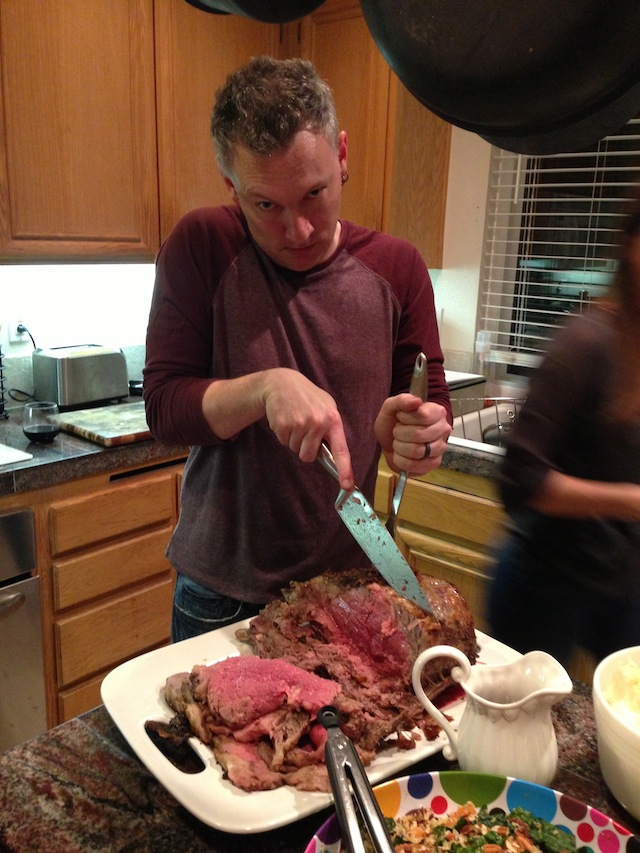 Shawn, carving meat