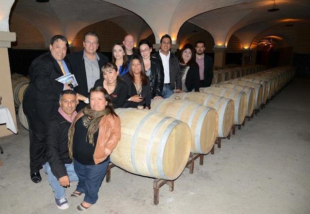 The original color shot of us in the Cetto wine cellar.
