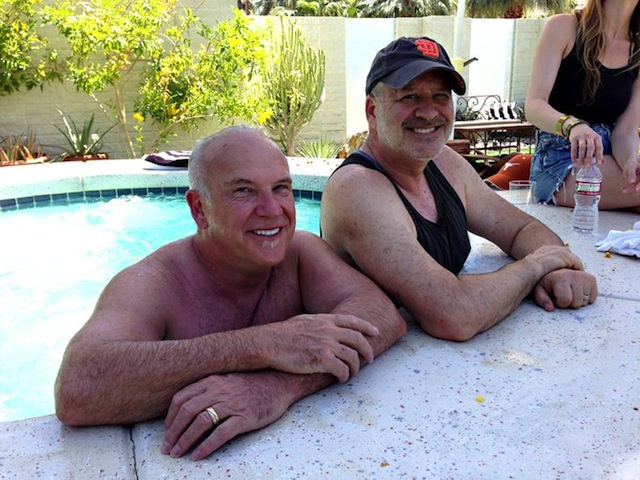 Larry and David in the jacuzzi