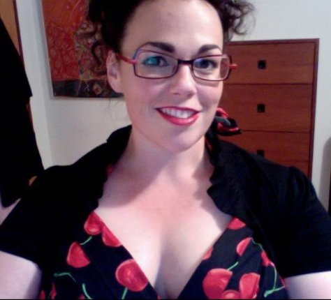 Cherry dress I wore to David's show.