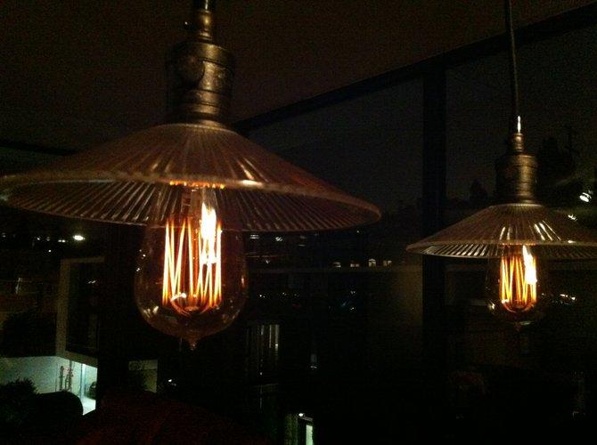 Close-up of filament bulbs.