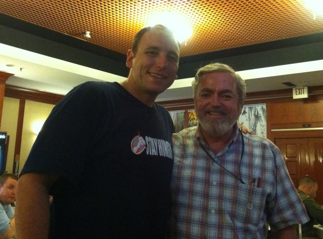 Dad and Joey Chestnut.