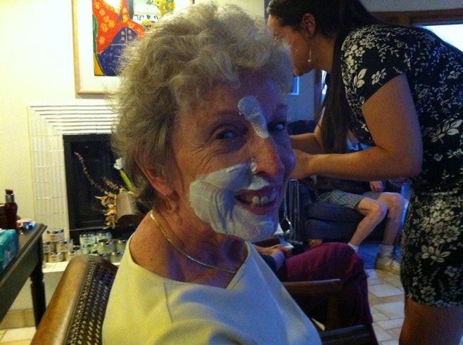 Ency, enjoying a facial mask.