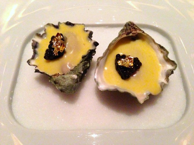Oysters with caviar and GOLD