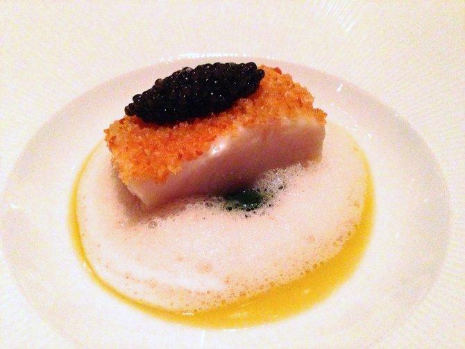White sturgeon with caviar