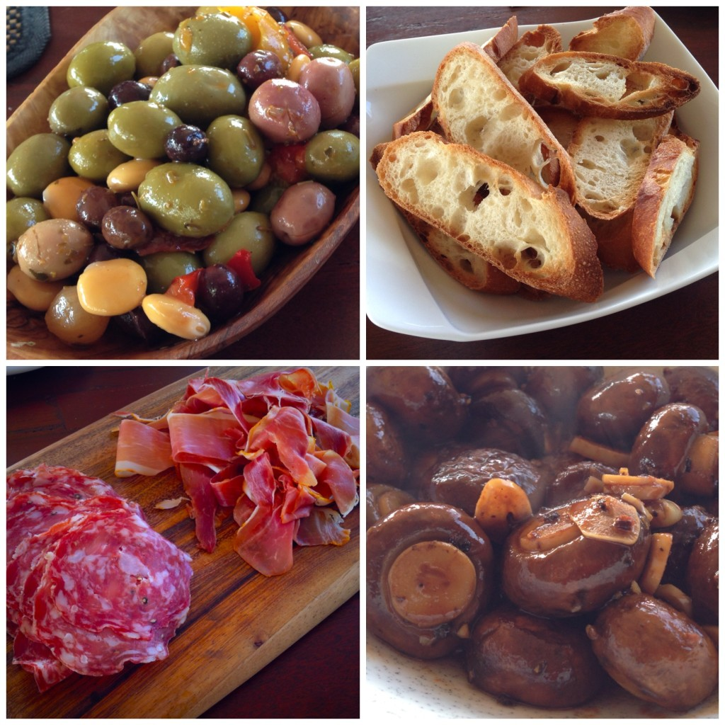 Olives, bread, Spanish meats, and the MUSHROOMS