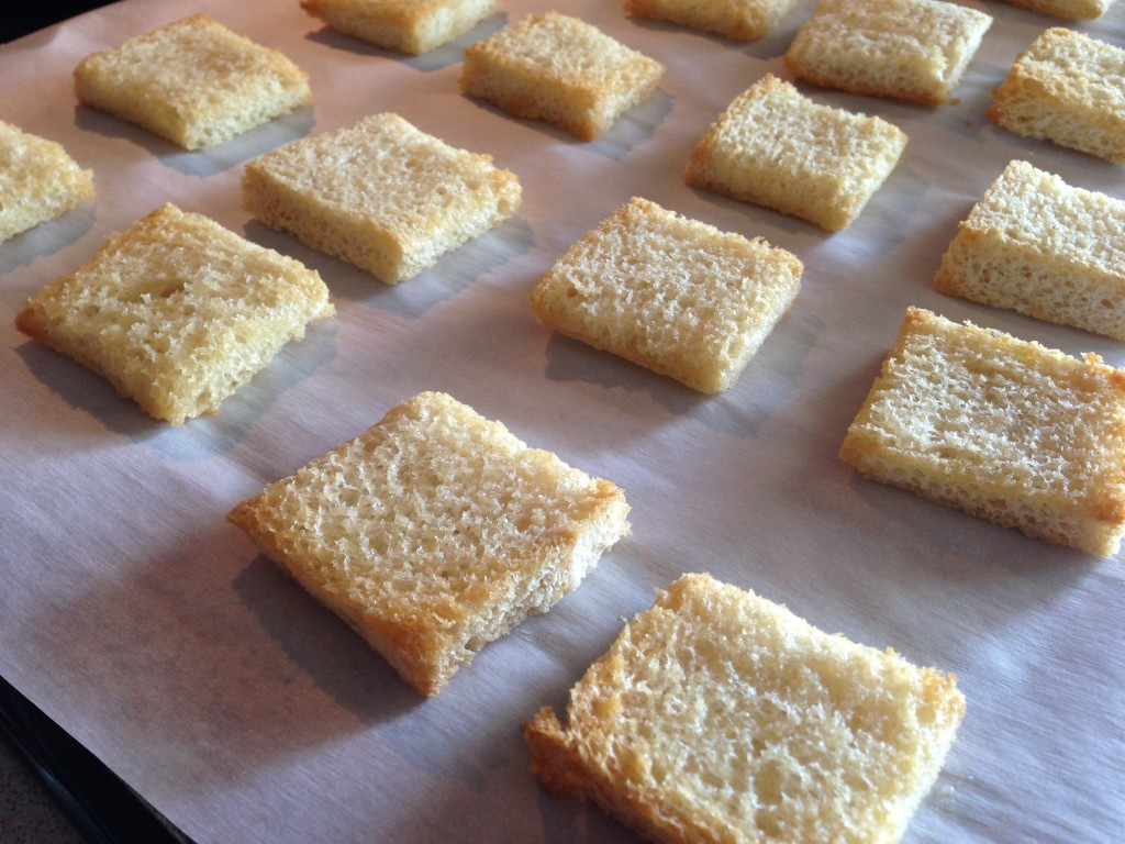 Toasted squares of bread