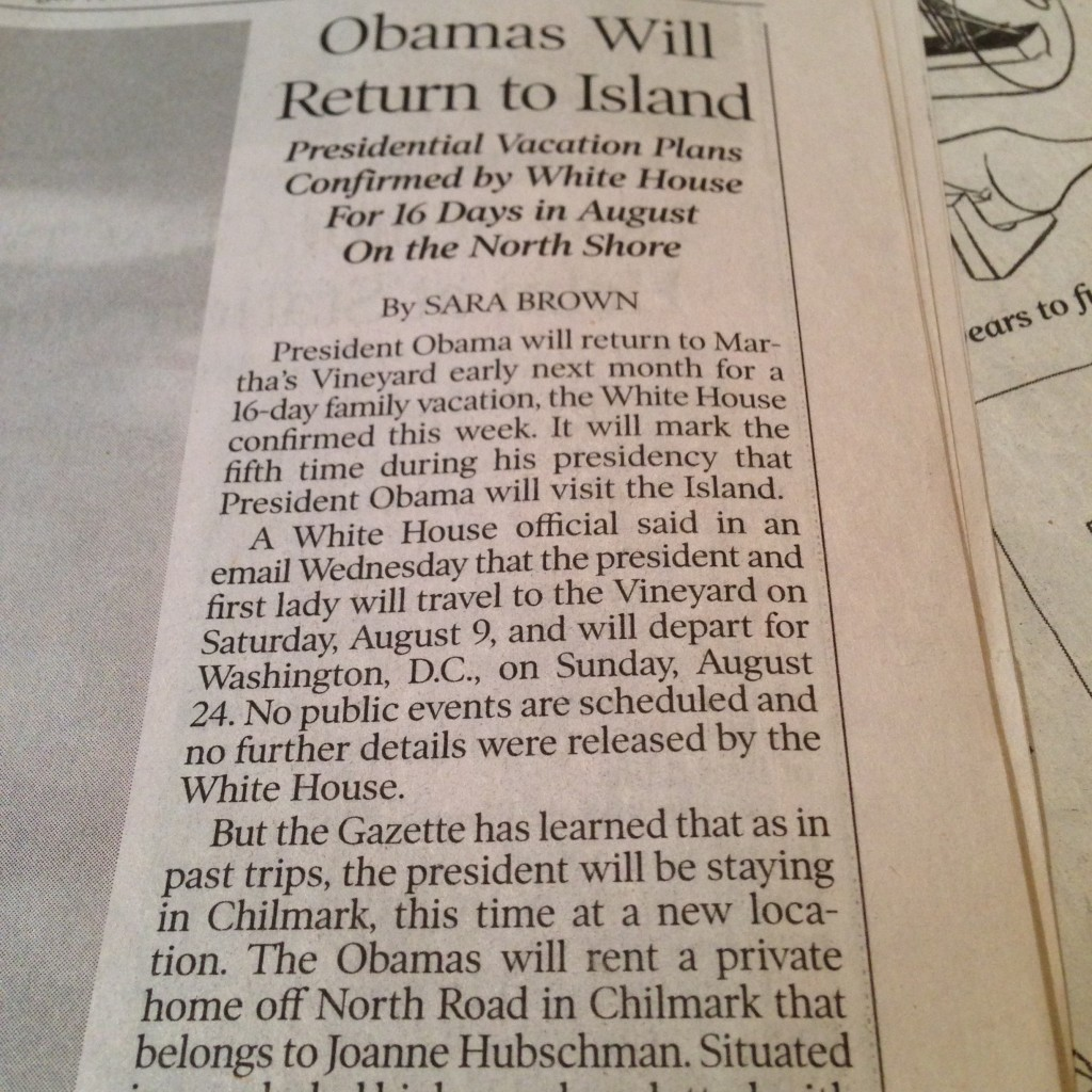 Write-up about which house Obama's renting in the Vineyard Gazette