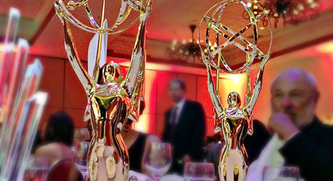 Our Emmys, on the table right after we got them