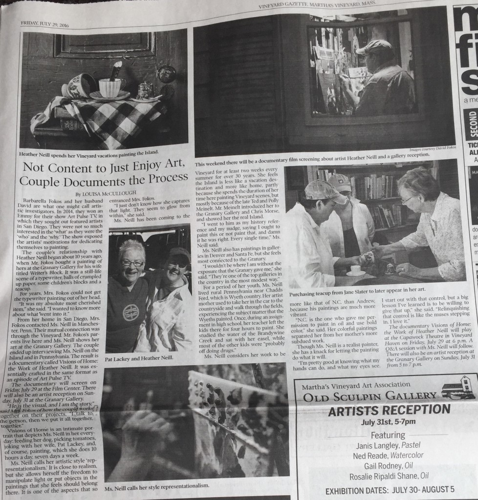 A story about us and our film in the Vineyard Gazette