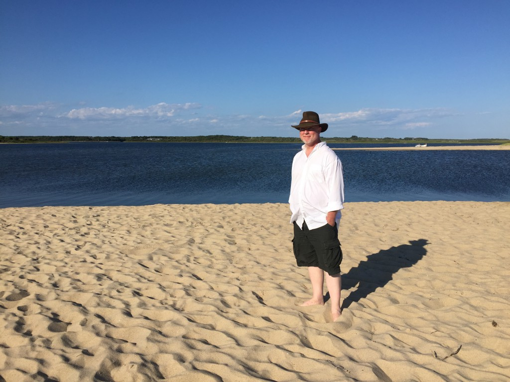 David looking dapper on the private beach