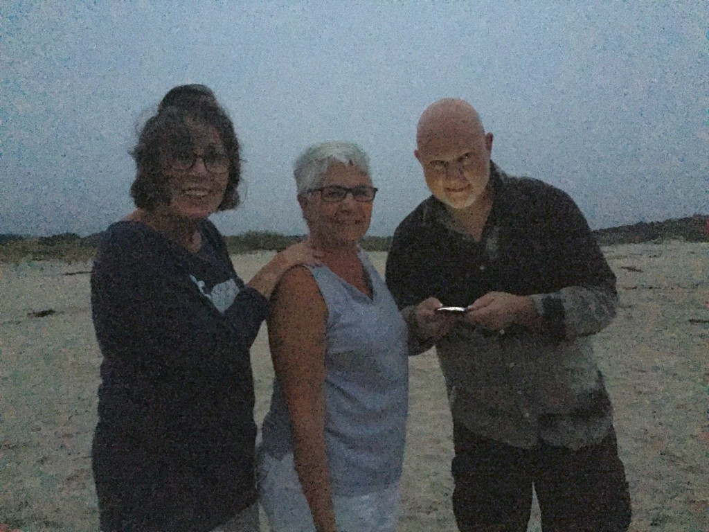 A grainy pic on the beach, because it was super dark, and the moon was obscured by clouds